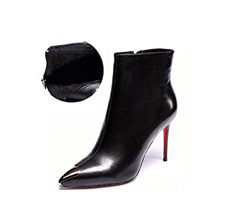 Genuine Leather Metal point High heel Woman Martin boots Fashionista Sequined Ankle Boots , black , 35