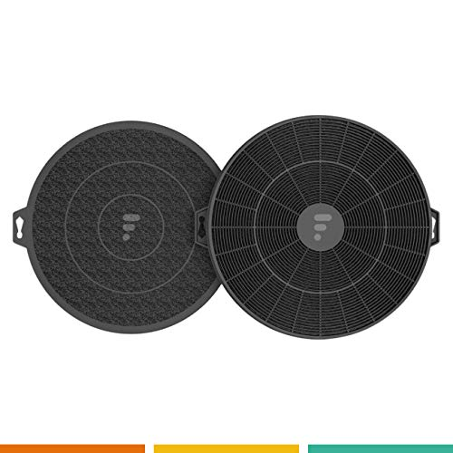 Fac FC04-2 Filtres à Charbon Actif pour Hotte de Cuisine - Diamètre 210 mm. - Jeu de 2 pièces - Compatibles avec les Hottes Wpro CHF210 B210 Universel AFC62 Bosch dhz5140 Brandt AFC62