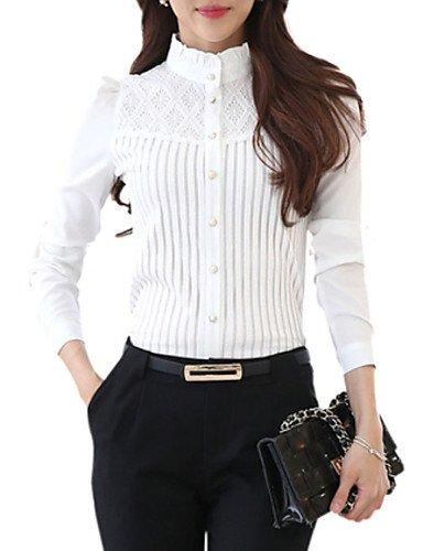 Pu&pu camicia da donna casual taglie forti primavera,tinta unita colletto alla coreana poliestere bianco manica lunga medio spessore, white, s