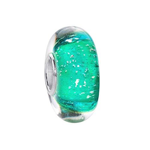 Materia, charm in vetro di murano, con bolle d'aria, interno in argento sterling 925, di colore verde, adatto per braccialetto, codice articolo #336
