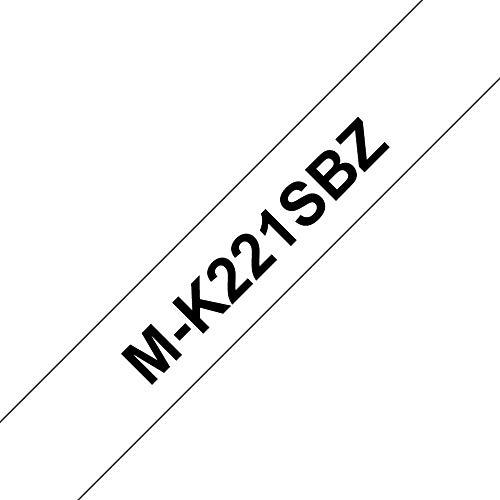 Brother MK221SBZ original M-Schriftband (kompatibel mit: PT-85,PT-75,PT-BB4,PT-55,PT-65,PT-80,PT-90 und PT-M95) schwarz auf weiß