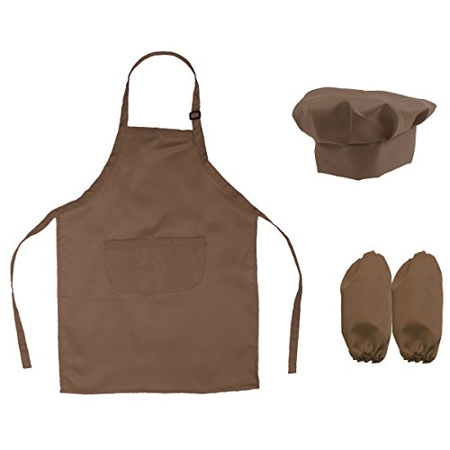(BESTOMZ Kinder Kochschürze mit Kochmütze Ärmelschoner zum Kochen Backen Malerei (Kaffee))