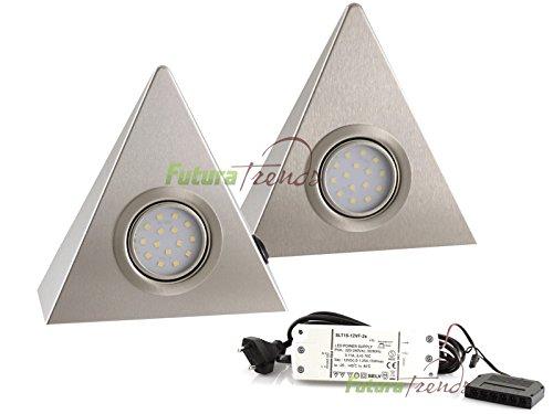2er Set LED Dreieckleuchte Unterbauleuchte Küchenleuchte EDELSTAHL 3W Warmweiß mit Zentralschalter