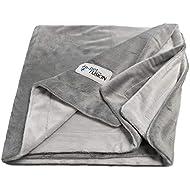 PetFusion Premium Pet Blanket (Medium, 112 x 86 cm, Gray). Reversible Micro Plush [100% soft polyester]