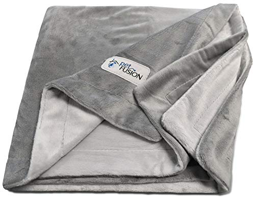 PetFusion Premium Medium Dog Blanket (112x86 CM). Reversible Gray Micro Plush. [100% soft polyester]
