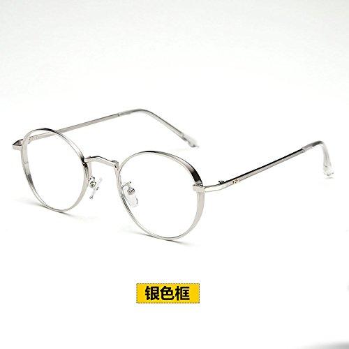 BM super persönlichkeit Retro - runde Brille Rahmen bei Flut koreanischen super leichte gläser Frame weibliche Full Metal Frame - Spiegel,Silver Frame