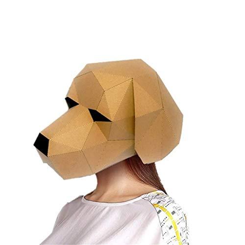 Erwachsene Kostüm Katze Für Einbrecher - Mmhot-mj DIY 3D Stereoskopische Tier Maske Halloween Maskerade Cosplay Kostüm Zubehör Kopfbedeckungen Papiermodell (Farbe : Labrador)