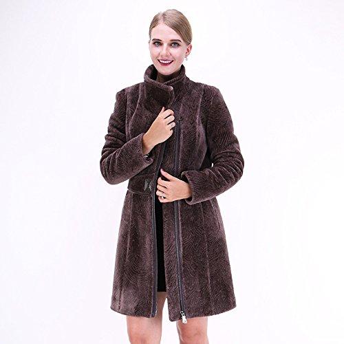 ZZHH acque alte delle donne ondulazione Jianrong grandi dimensioni cappotto di pelliccia della chiusura lampo . brown . xl