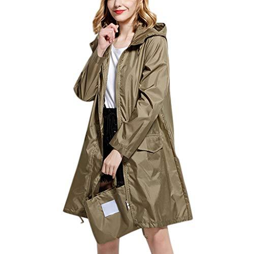 IZHH Mode Damen Regenjacke, Kapuze Einfarbig Mantel Feste Taschen Winddicht Freien Outwear...