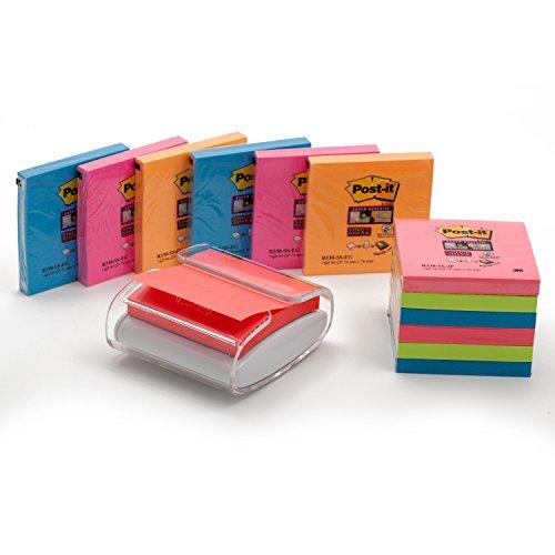 Post-it Spender für den Schreibtisch in weiß/ transparent für Super Sticky Z-Notes, praktischer Helfer für Büro und Schularbeiten mit 12 zusätzlichen Haftnotizblöcken