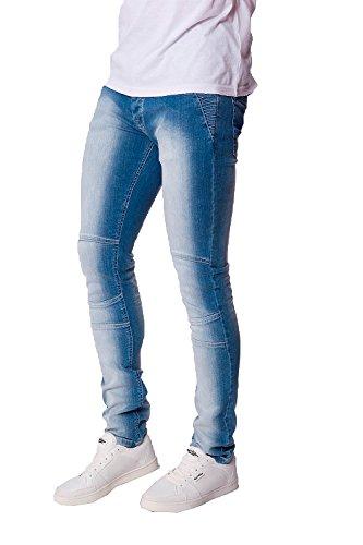 Herren Seven Series Corona Stretch Eng Jeans Designer Stone Washed Denim-hose - Helle Waschung, 34 Waist 32 Leg (34R) (Gesäßtasche-jeans Blau-stich)