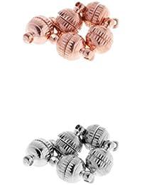 MagiDeal Cierre Magnético Bola Redonda Clasp 8 mm Gancho Magnético de Corchete para DIY Joyería Abalorios 10 Piezas