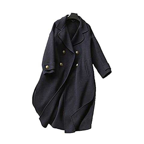 DFUCF, Ladies, Woolen, Woolen Coat, Double Breasted, Handmade, Windbreaker, Jacket, Temperament, Ladies, Serene, Medium Long Section, Casual,Navy-S
