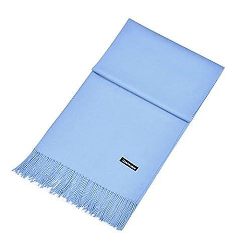 Kingko® Womens Winter Warm Kaschmir Solid Lang Schal Wrap Schal Super weicher Kaschmir Mischschal (Himmelblau)