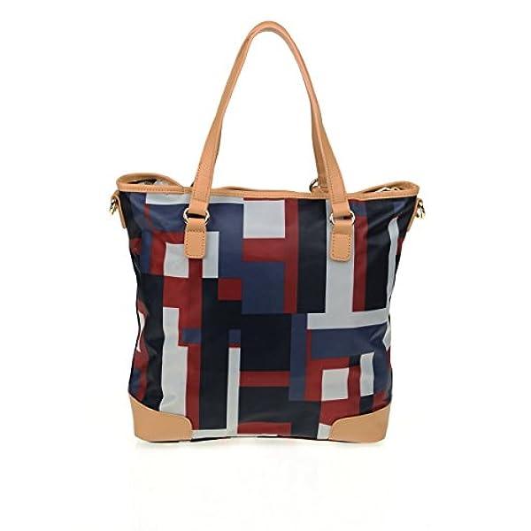 8bcdc07fb Ofertas para comprar online Bolso de hombro Tommy Hilfiger (Bolso al hombro  de nailon para mujer multicolor azul/rojo)