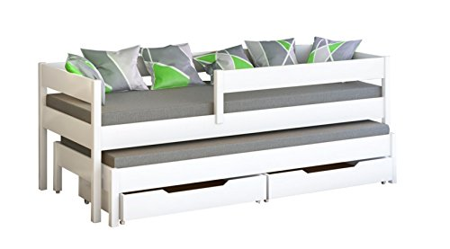 *Schraubregal JULA Einzelbett für Kinder mit Ausziehbett mit 2Matratze und Schubladen, Versandkostenfrei., holz, weiß, 160×80/150×70*