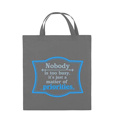 Comedy Bags - Nobody is too busy, it's just a matter of priorities. - Jutebeutel - kurze Henkel - 38x42cm - Farbe: Schwarz / Weiss-Neongrün Dunkelgrau / Eisblau-Blau