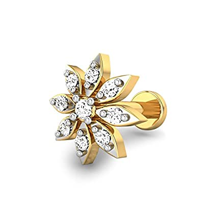 Candere By Kalyan Jewellers ShelBy 18k Yellow Gold and Diamond Nosepin for Women