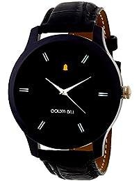 Golden Bell Original Black Dial Black Strap Analog Wrist Watch For Men - GB-607