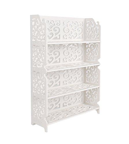 ts-ideen Regal Steckregal Standregal Dekoregal Wandregal Ablage mit Verzierung in Weiß 85 x 60 cm