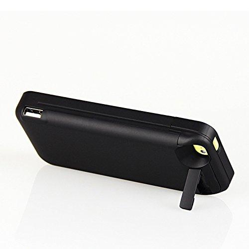 CaseforYou Batteriefach Hülle iPhone 5 5S 5C SE 4200mAh Taschen Schalen Akkus Rechargeable External Battery Backup Protective Case Power Bank Charger Cover with Kickstand Batteria Schützend Batterie-S schwarz