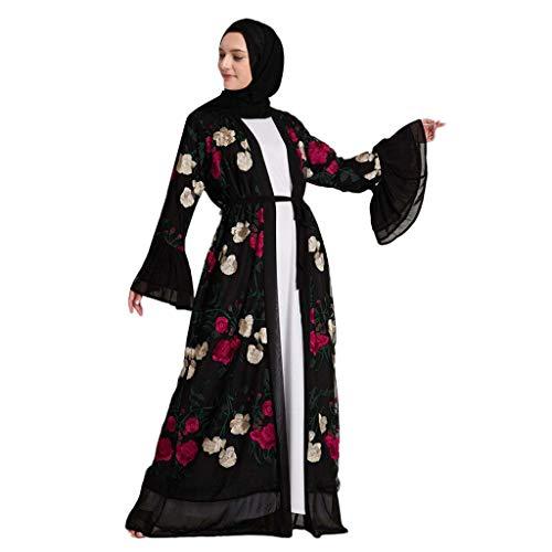 GJKK Muslimische Kleid Damen Elegant Kleid Blume Stickerei öffnen Lange Strickjacke Maxikleid Kimono Abaya Kaftan Langarm Freizeit Kleider Muslimische Islamische Kleidung Arabische Muslimische Roben