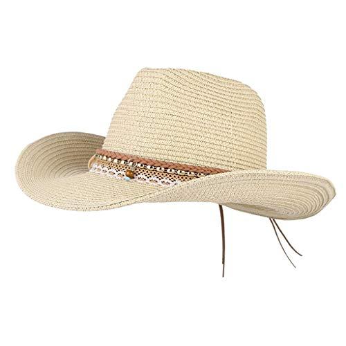 Unbekannt Damen Cowboy Stroh Hüte Westernhut Sonnenhut Breiter Krempe Gartenhut Strohhut Strandhut mit Pompoms Deko - Beige