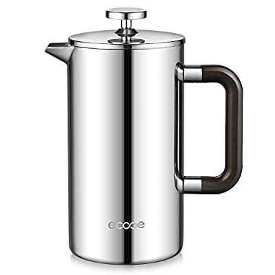 Ecooe Double Walled Cafetiere 1L Stainless Steel Cafetiere Coffee Pot