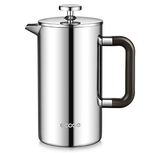 Ecooe 1L 18/10 Edelstahl French Press Kaffee Doppelwandiger Kaffeebereiter - DiedoppeleWändesindaus18/10rostenfreiEdelstahl