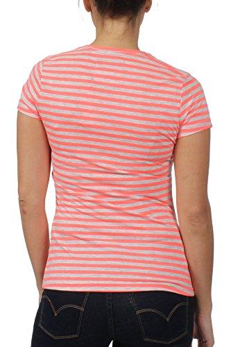 Superdry Damen T-Shirt Vintage Logo Stripe Fluro Coral Mehrfarbig