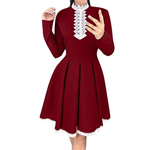 Flashdance Kostüm - Xmiral Damen Langarm Patchwork Spitzenkleid Casual Häkelspitze A Line Mini Kleid Kostüm für Rollenspiel, Mottoparty(S,Rot)