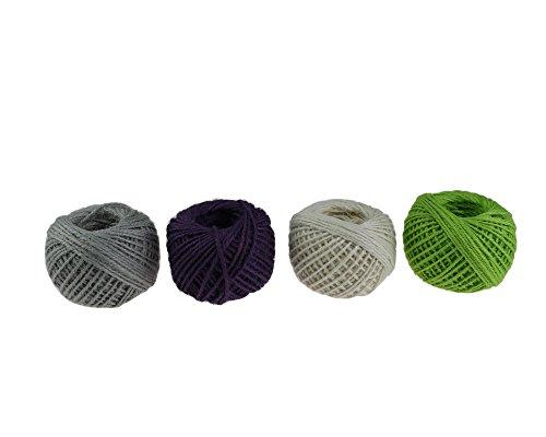 Cuerda de yute natural de 1,5 mm, cuerda de cáñamo, cuerda gruesa para bricolaje, manualidades, decoración de jardín, 50 m, rollo de 4 rollos