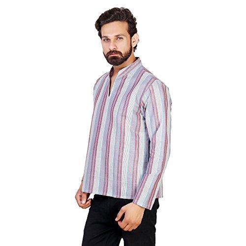 ALDIVO ® Men's Linen Cotton Designer Short Kurta / Striped linen Kurta / Light Blue (X-Large)  available at amazon for Rs.449