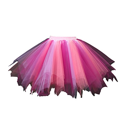 Honeystore Damen's Tutu Unterkleid Rock Abschlussball Abend Gelegenheit Zubehör Rosa Wassermelone Fuschie