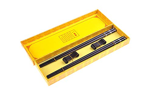 Quantum Abacus Black Metal Set de Baguettes de Luxe en Alliage métallique dans Coffret Cadeau - 2 Paires des Baguettes en métal Noir, 2 Supports en Bambou, SC-H-S2-ML-07