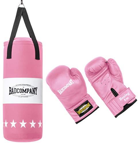 Bad Company Box-Set für Kinder und Jugendliche I Canvas Boxsack, gefüllt - inkl. Aufhängung I 8 OZ Boxhandschuhe I 68 x 25 cm - Rosa
