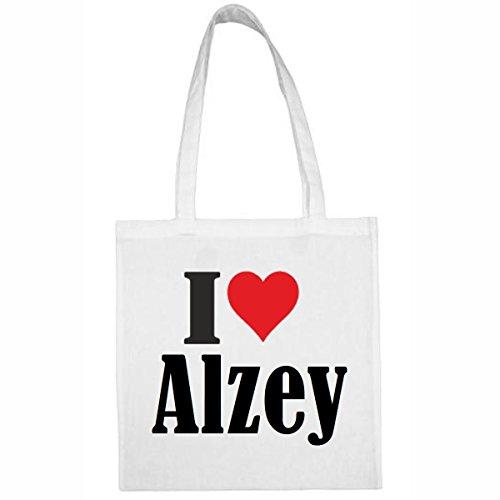 Tasche I Love Alzey Größe 38x42 Farbe Weiss Druck Schwarz