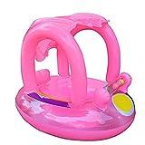 Baby Schwimmhilfen Schwimmen Ring mit Sonnendach 0-3 Jahre Aufblasbares Kinderboot für Wasserspaß Familienspaß in See Meer Schwimmbad enthalten Manuelle Kompressor