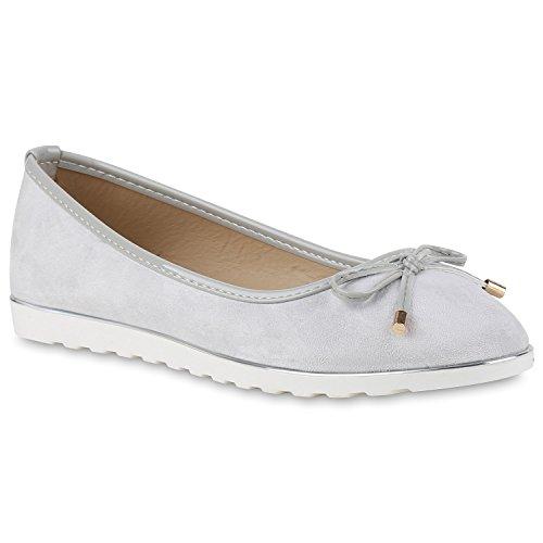 Damen Slipper Loafers Lack Metallic Schuhe Flats Profilsohle Hellgrau Velours