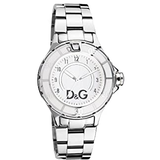 Dolce & Gabbana NCHOR Silver DIAL SS BRC Case SS W/White E DW0512 – Reloj de Caballero de Cuarzo, Correa de Acero Inoxidable Color Plata