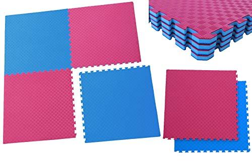 Unbekannt Sportmatte Steckmatte mit Zwischenschicht Judo Karate Yoga Kampfsport Rot-Blau 1mx1mx0,02m (0560010)