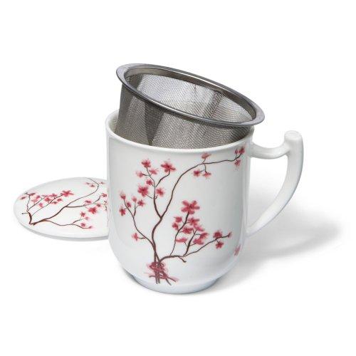 TeaLogic Cherry - Taza con filtro de té y la tapa , diseño de cerezo en flor