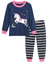 Little Hand Schlafanzug Mädchen Lang Einhorn Kinder Zweiteiliger Baumwolle Ärmel Nachtwäsche T-Shirt und Hose 92 98 104 110 116 122 (92 (HerstellerGröße: 90), Einhorn 2)