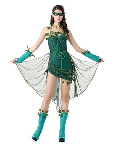 Uleade Halloween Green Zauberer Baum Dämon Cosplay Fancy Dress Kostüm Party Bühnen Performance (Weiblich Kostüm Dämon)