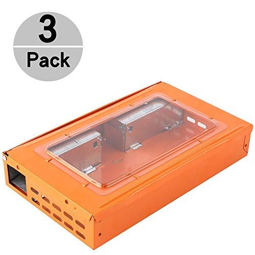 Elbe Mausefalle Multi-Catch, Lebendfalle tierfreundlich, Wiederverwendbare lebende Mäusefalle, 27x16x5 cm, geeignet für In- und Outdoor, mit Sichtfenster, orange, 3 Pack -