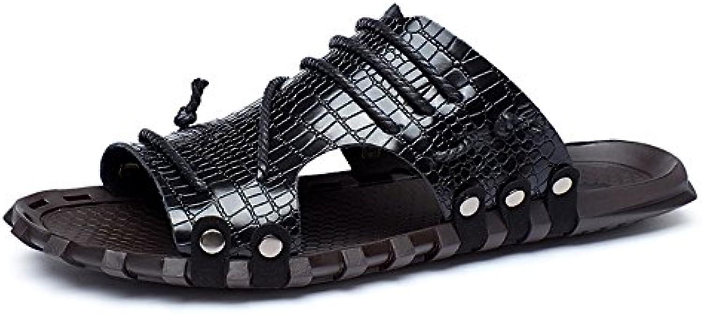 SunnyBaby Herren Slide Sandalen aus echtem Leder Wide Band Slipper Peep Toe Strand lässig Stud  Crisscross Braid