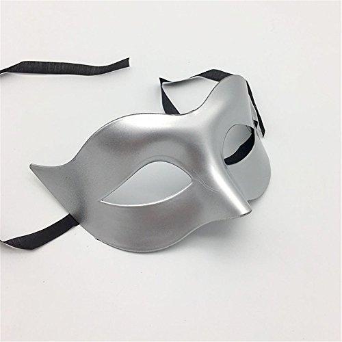 Maskerade,Glamour Männer Masken Halloween Kostüme Tänze Masken Damen einfarbig minimalistisch Halbgesicht Zorro Maske Maske Silber Masquerade