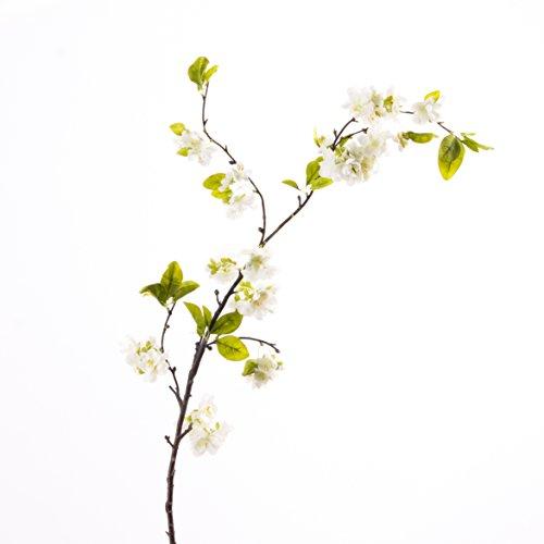Künstlicher Kirschblütenzweig VALESKA, 55 Blüten, creme-weiß, 105 cm - Kunst Zweig / Frühlingsdekoration - artplants