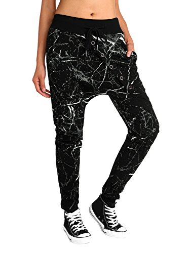 BAISHENGGT Damen Baggy Sweatpants Jogginghose Boyfriend Sports Hose All-Over Print Schwarz-Graffiti L