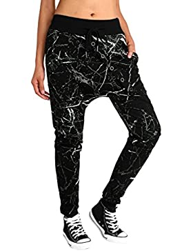 baishe nggt Mujer Baggy Sweatpants Pantalones Boyfriend Sports Pantalones de All Over Print Negro
